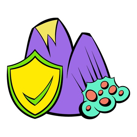 Landslide and yellow shield with tick icon cartoon