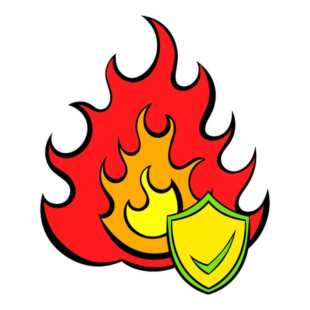 Fire and shield with tick icon cartoon