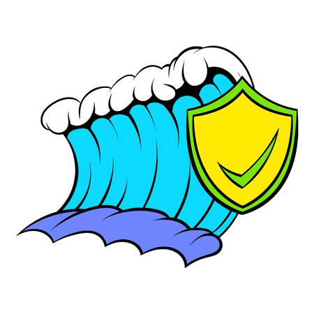 the greenhouse effect: Blue tsunami wave and yellow shield with tick icon