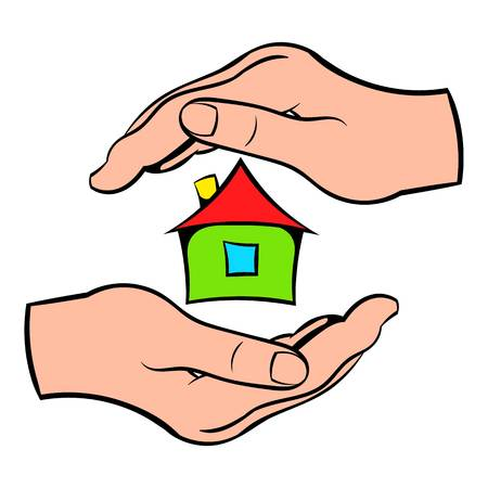 House in hands icon cartoon Illustration