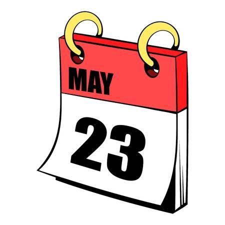 Twenty three may in calendar icon cartoon