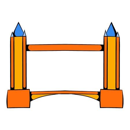 drawbridge: Tower Bridge in London icon cartoon