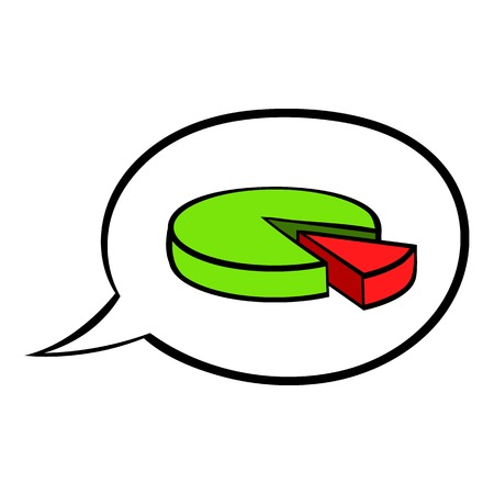 Speech bubble with a pie chart icon cartoon Illustration