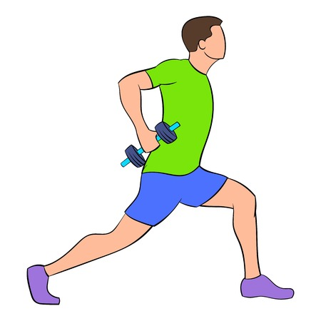Man doing lunges with dumbbells icon cartoon