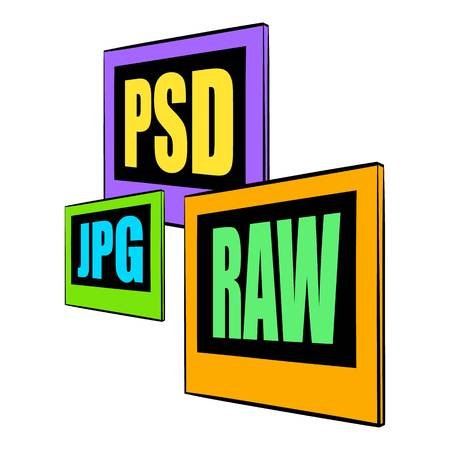 PSD, JPG, RAW file icon cartoon