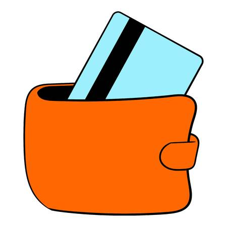 Wallet with credit card icon cartoon Illustration
