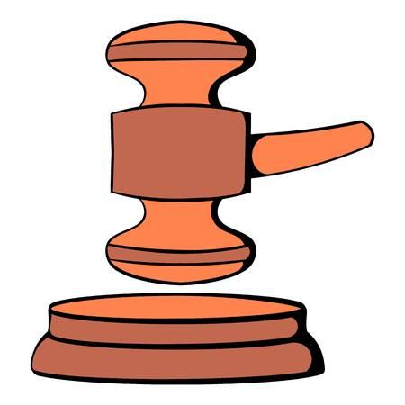 supreme court: Judge gavel icon cartoon