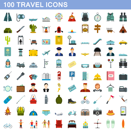 100 travel icons set, flat style