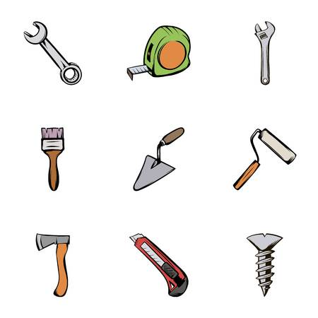 roller brush: Construction equipment icons set, cartoon style Illustration