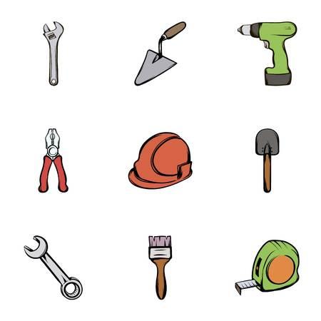 roller brush: Building equipment icons set, cartoon style