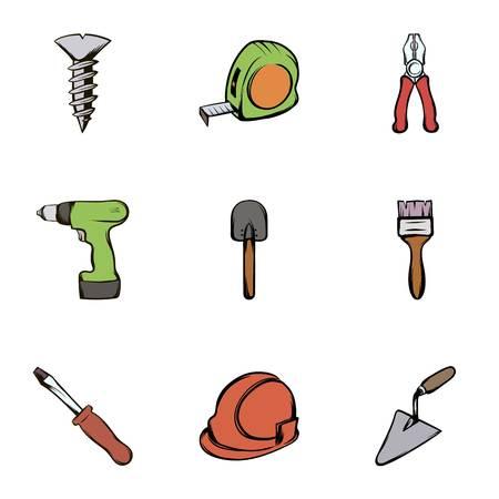 roller brush: Work tools icons set, cartoon style Illustration