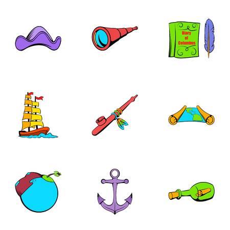 Sea travel icons set, cartoon style Illustration