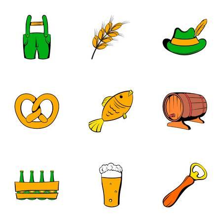 Autumn celebration icons set, cartoon style