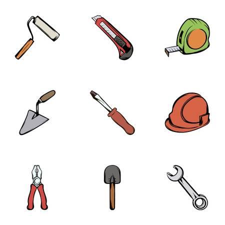 platen: Construction tools icons set, cartoon style