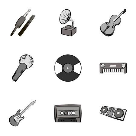 Playing melody icons set, gray monochrome style Illustration