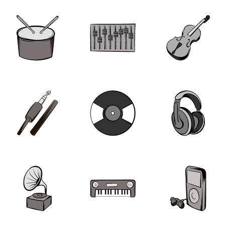 Singing icons set, gray monochrome style Illustration