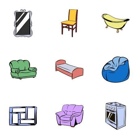 gas stove: Furniture icons set, cartoon style