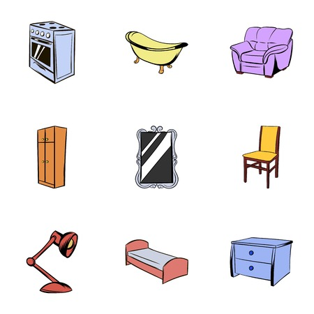 piece of furniture: Piece of furniture icons set, cartoon style