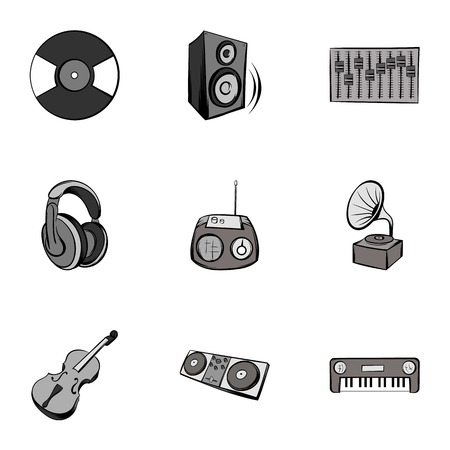 Tune icons set, gray monochrome style Illustration