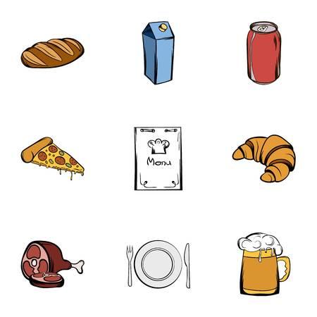 shef: Master chef icons set, cartoon style
