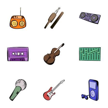 Instruments icons set, cartoon style