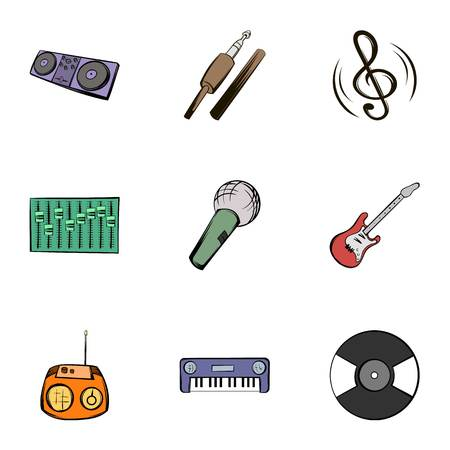 Music icons set, cartoon style