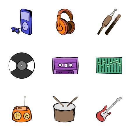 Listening music icons set, cartoon style