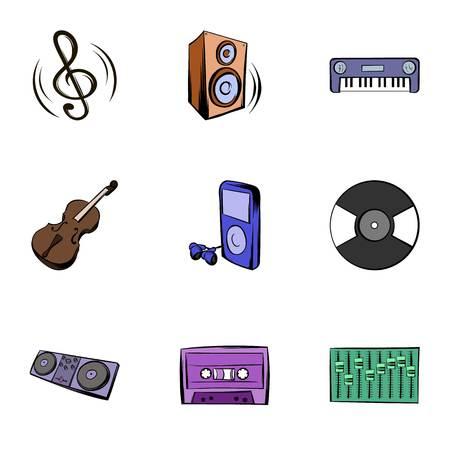 Playing music icons set, cartoon style Illustration