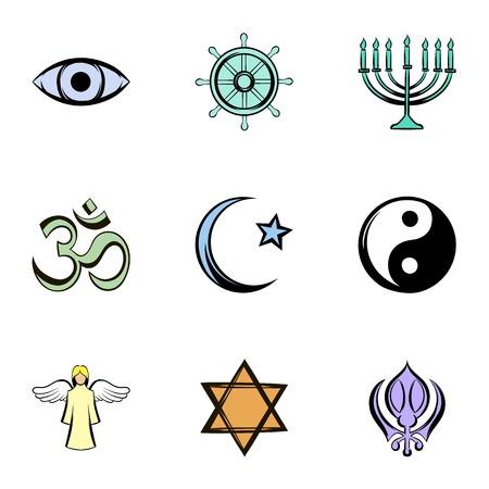 nirvana: God icons set, cartoon style Illustration