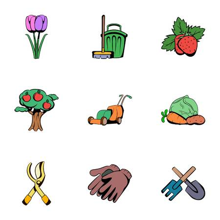 grower: Grower icons set, cartoon style Illustration