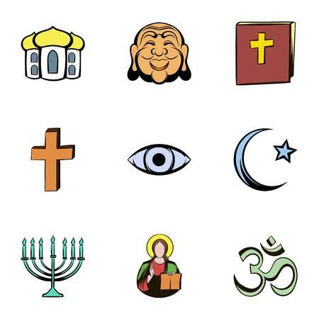 nirvana: Faith icons set, cartoon style Illustration