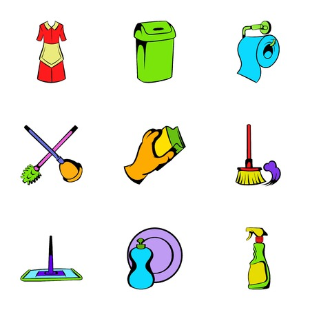 Cleaning icons set, cartoon style Stok Fotoğraf - 74623417