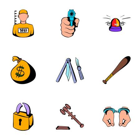 Prison icons set, cartoon style
