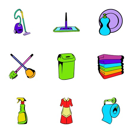Cleanup icons set, cartoon style Stok Fotoğraf - 74676679