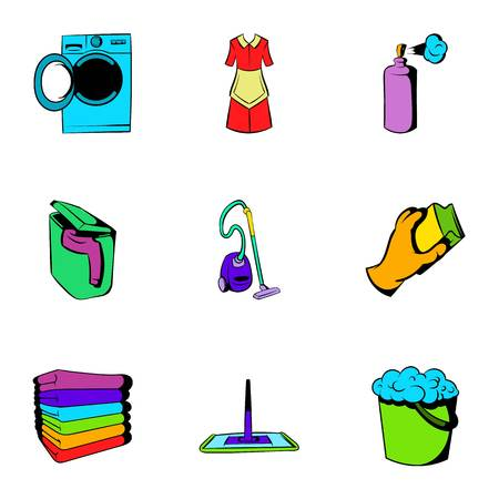Purification icons set, cartoon style