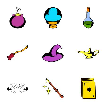 Voodoo icons set, cartoon style