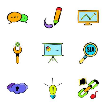 globe logo: Internet icons set, cartoon style