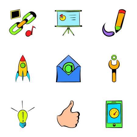 globe logo: Seo promotion icons set, cartoon style