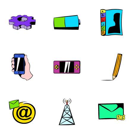 Mobile tower icons set, cartoon style