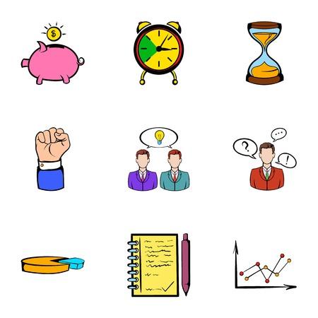 Banking icons set, cartoon style