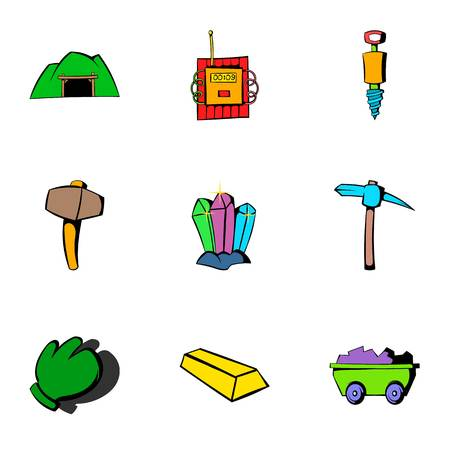 pick light: Coalpit icons set, cartoon style