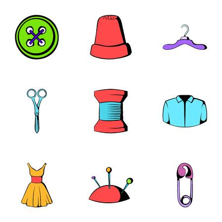 Sewing icons set, cartoon style Иллюстрация