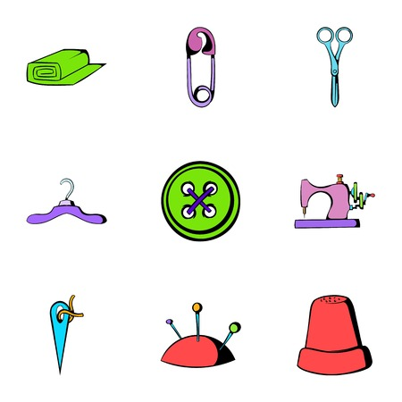 Sewing clothes icons set, cartoon style Illustration
