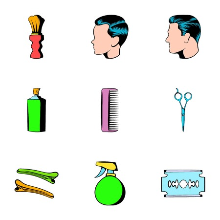 Haircutting icons set, cartoon style Illustration