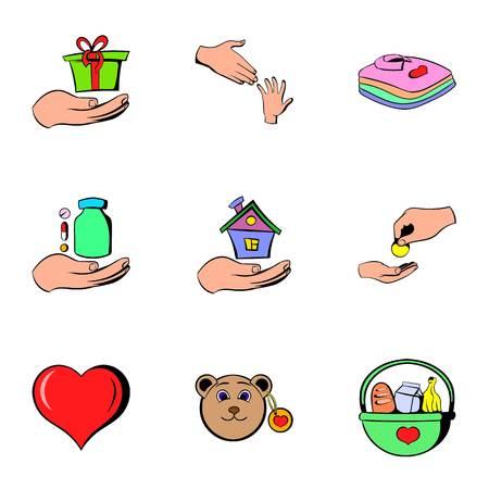 Healthcare icons set, cartoon style Ilustração