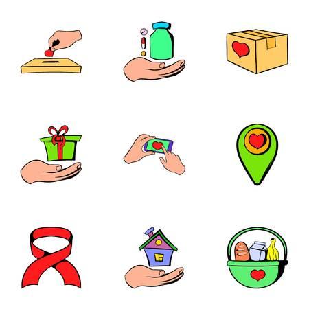 Helping icons set, cartoon style Banco de Imagens - 74623500