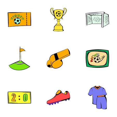 soccer field: Game icons set, cartoon style Illustration