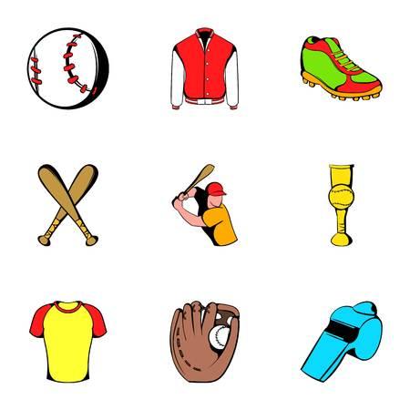 pitching: Baseball icons set, cartoon style Illustration