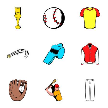 pitching: Game ball icons set, cartoon style