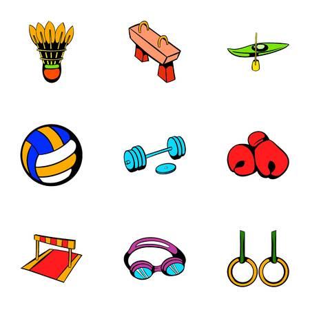 tennisball: Sport activity icons set, cartoon style Illustration